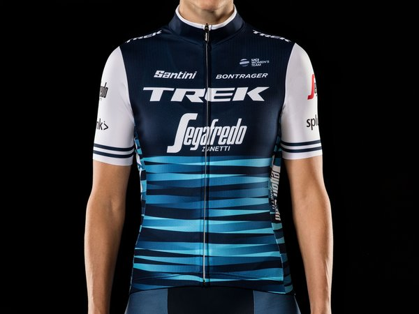 Santini Trek-Segafredo Women's Team Replica Cycling Jersey Color: Dark Blue/White