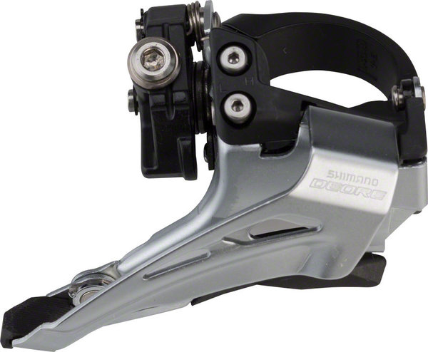 Shimano Deore FD-M618 Front Derailleur Cable Pull | Chainrings | Clamp Diameter | Color | Mount Type | Speeds: Bottom-Pull | Double | 28.6 – 34.9mm | Silver/Black | High Clamp/Bottom Swing | 10-speed