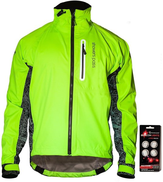 Showers Pass Men's Hi-Vis Elite E-Bike Jacket w/Red LED Beacon Lights