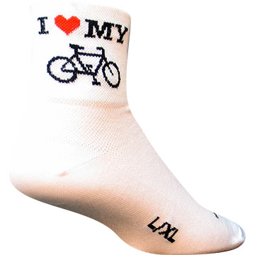 SockGuy I Heart My Bike Socks Color: White