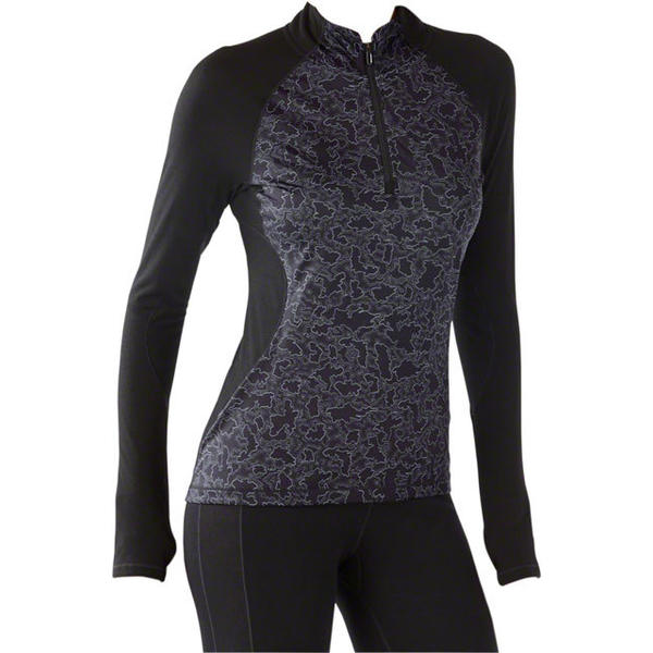 Smartwool Women's PhD Light Printed Wind 1/2 Zip Color: Black