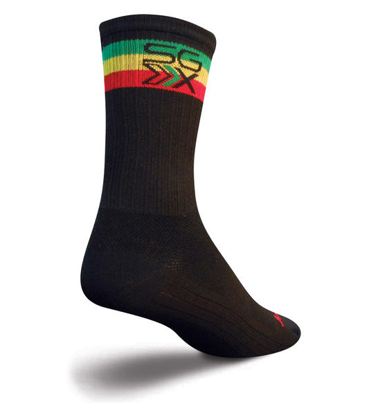 SockGuy SGX 6-inch Socks (Rasta) Color: Black