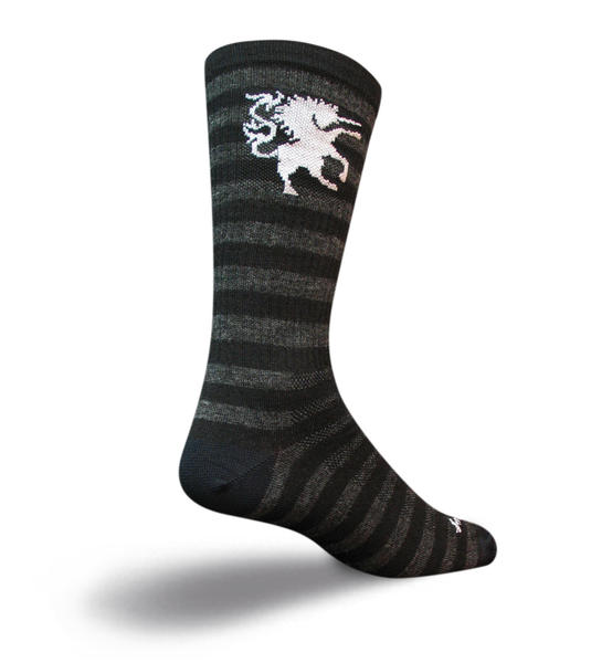 SockGuy Wool Socks (Medieval Unicorn) Color: Black/Gray