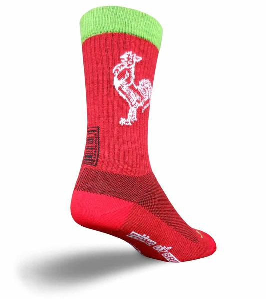 SockGuy Sriracha Acrylic Crew Socks Color: Red