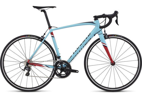 Specialized Allez DSW SL Expert Color: Gloss Light Blue/Red/Tarmac Black