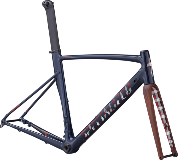 Specialized Allez Sprint Disc Frameset Color: Gloss Cast Blue/Satin Red Plaid/Woodgrain/Clean