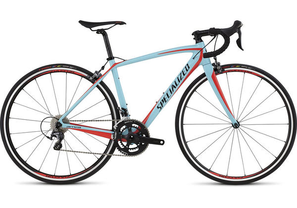 Specialized Amira SL4 Comp - Women's Color: Gloss Light Blue/Rocket Red/Black