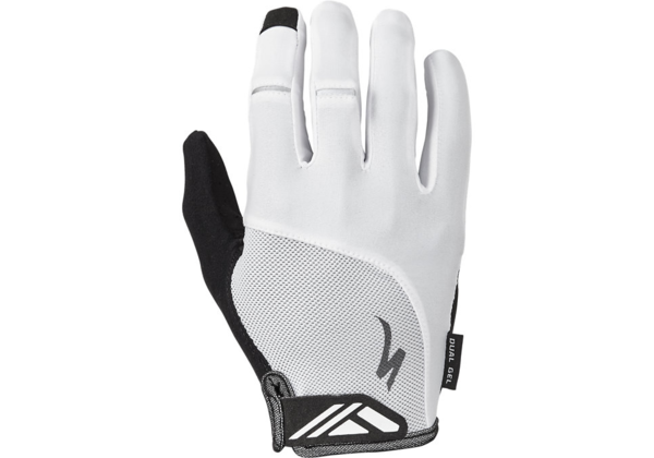 Specialized Body Geometry Dual-Gel Long Finger Gloves Color: White