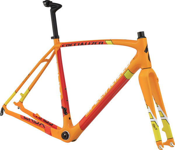 Specialized CruX Pro Disc Frameset Color: Gloss Orange/White/Yellow/Flourescent Red