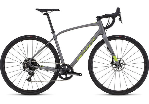 Specialized Diverge Comp DSW X1 Color: Satin Charcoal/Hyper Green