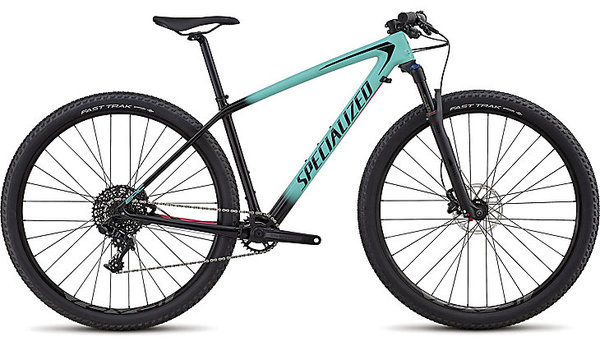 Specialized Women's Epic HT Comp Carbon Color: Gloss Acid Mint Fade To Tarmac Black/Acid Pink
