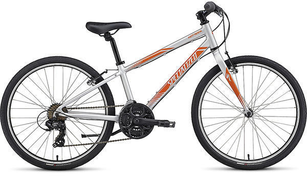 Specialized Boy's Hotrock 24 Street (21-Speed) Color: Silver/Moto Orange