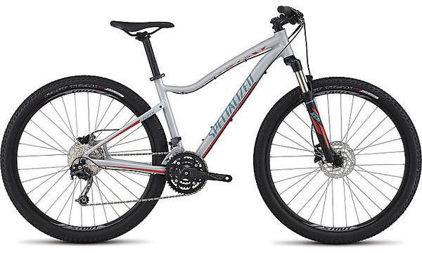 Specialized Jynx Comp 650b Color: Satin Filthy White/Nordic Red/Turquoise