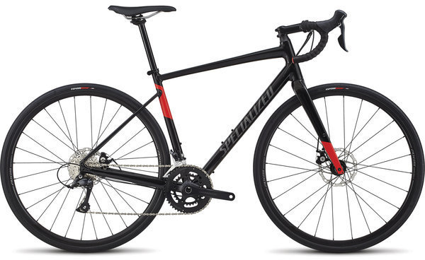 Specialized Men's Diverge E5 Sport Color: Gloss Tarmac Black/Charcioal/Rocket Red