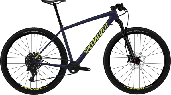 Specialized Men's Epic Hardtail Comp Color: Gloss Blue Tint Carbon/Ion