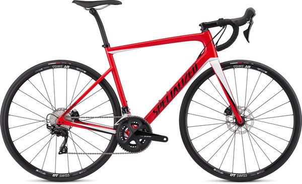 Specialized Men's Tarmac Disc Sport Color: Gloss Flo Red/Metallic White Silver/Tarmac Black