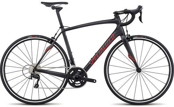 Specialized Roubaix SL4 Sport Color: Satin Carbon/Flo Red/Clean
