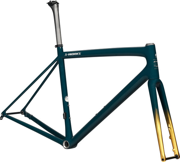 Specialized S-Works Aethos Frameset Color: Gloss Forest Green/Gold Pearl/Flake Silver