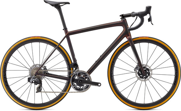 Specialized S-Works Aethos Red eTap AXS Color: Carbon/Red Gold Chameleon/Bronze Foil