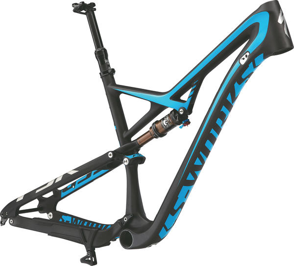 Specialized S-Works Camber 29 Frame Color: Satin/Gloss Carbon/Charcoal/Cyan