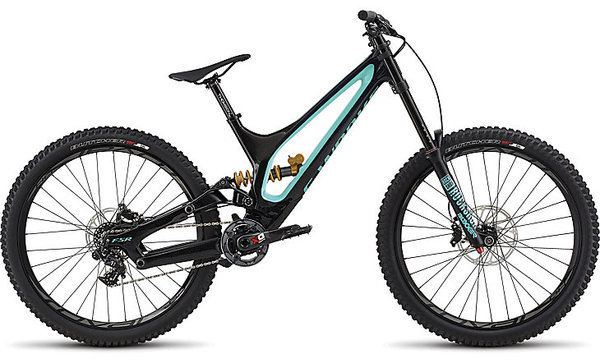 Specialized S-Works Demo 8 Color: Gloss Blue Tint Carbon/Acid Mint/Cosmic Black