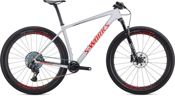 Specialized S-Works S-Works Epic Hardtail AXS Color: Gloss Dove Grey/Rocket Red/Crimson