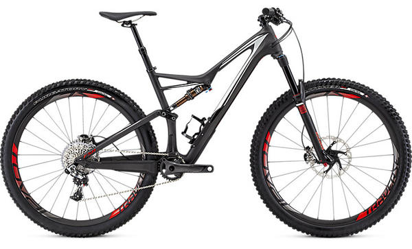 Specialized S-Works Stumpjumper FSR 29 Color: Satin/Gloss Carbon/Dirty White/Rocket Red