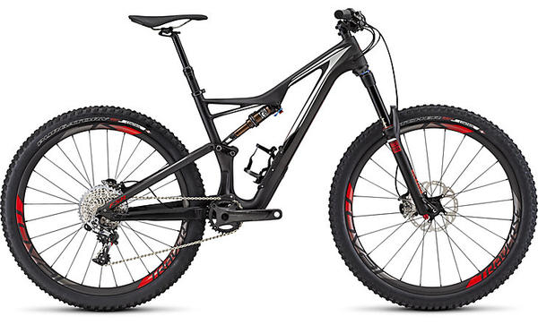 Specialized S-Works Stumpjumper FSR 650B Color: Satin/Gloss Carbon/Dirty White/Rocket Red
