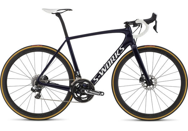 Specialized S-Works Tarmac Disc Di2 Color: Gloss Blue Tint Flake/White