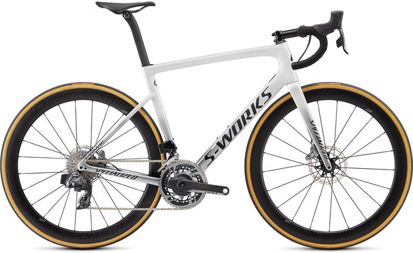 Specialized S-Works S-Works Tarmac Disc – SRAM ETAP Color: Gloss Metallic White Silver/Lite Silver Fade