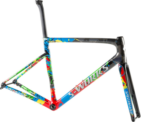 Specialized S-Works Tarmac Disc Frameset WC Color: Gloss Carbon/Flo Red/White