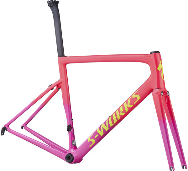 Specialized S-Works Tarmac Frameset Color: Acid Pink/Acid Purple/Team Yellow/Gravity Fade