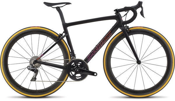 Specialized S-Works Women's Tarmac Color: Satin Gloss Mono Black/Acid Purple/Rocket Red Fade