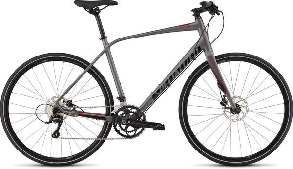 Specialized Sirrus Elite Disc Color: Satin Sterling/Gloss Black/Red