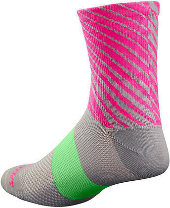 Specialized SL Tall Socks - Women's Color: Light Grey/Neon Pink