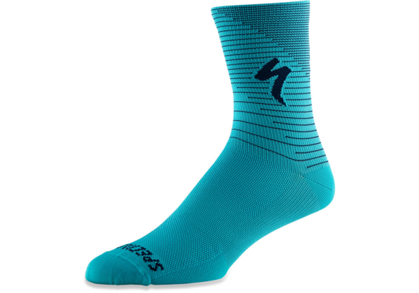 Specialized Soft Air Road Tall Sock Color: Aqua/Cast Blue Arrow