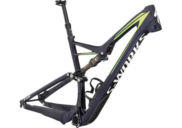 Specialized S-Works Stumpjumper FSR Carbon 29 Frame Color: Gloss Blue Carbon Tint/Hyper Green Fade/White