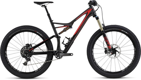 Specialized Stumpjumper FSR Expert 6Fattie Color: Gloss/Silver Tint Carbon/Rocket Red/Flo Red