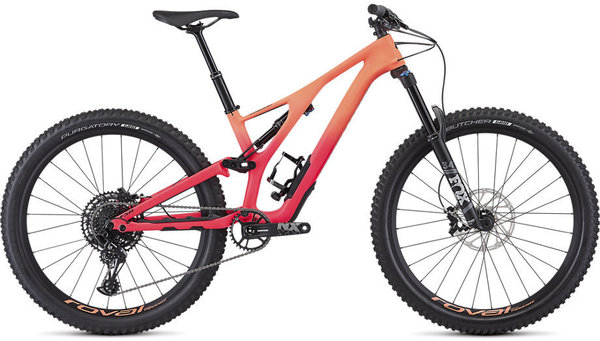 Specialized Women's Stumpjumper Comp Carbon 27.5—12-Speed Color: Satin / Acid Lava / Acid Pink