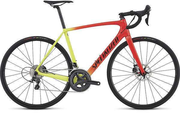 Specialized Tarmac Comp Disc Color: Gloss Rocket Red/Team Yellow/Tarmac Black Fade