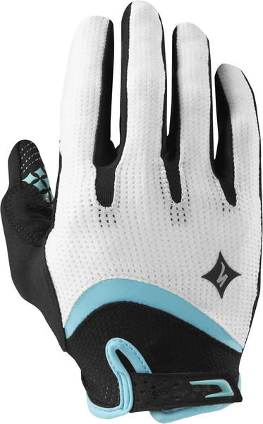 Specialized BG Gel WireTap Long-Finger Gloves Color: White/LT Teal