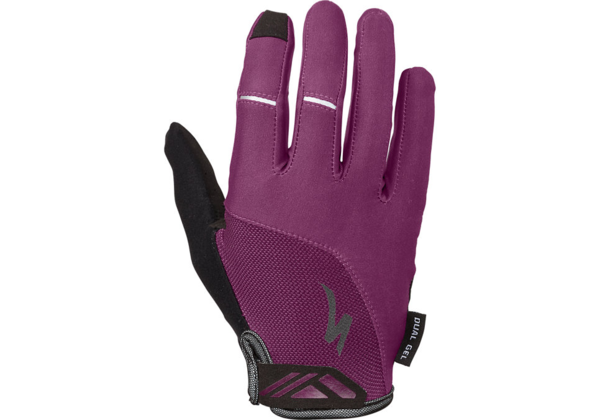 Specialized Women's Body Geometry Dual-Gel Long Finger Gloves Color: Cast Berry