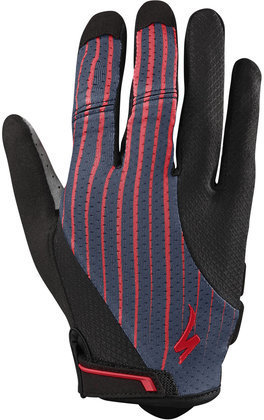 Specialized Women's Body Geometry Gel Long Finger Gloves Color: Acid Red/Line Fade