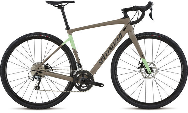 Specialized Women's Diverge Sport Color: Satin Taupe Acid Kiwi Black