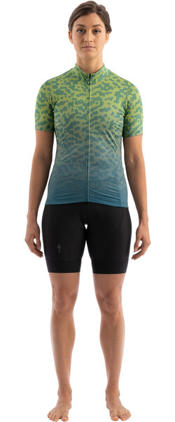 Specialized Women's RBX Short Sleeve Jersey w/SWAT Color: Dusty Turquoise/Hyper Green Terrain