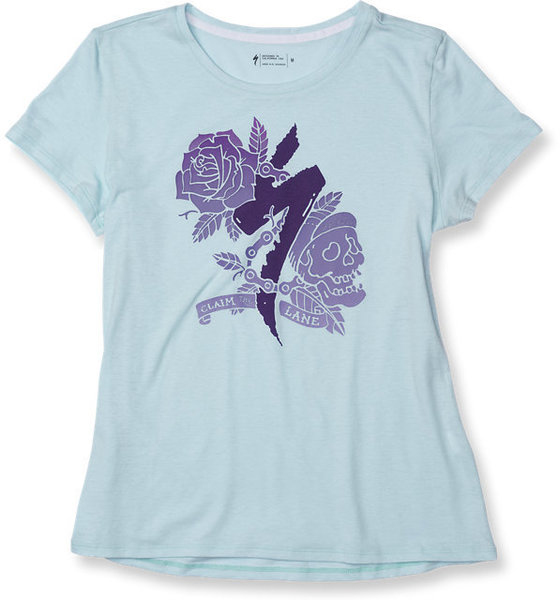 Specialized Women's Standard Inked T-Shirt Color: Baby Blue/Plum Purple