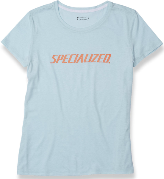 Specialized Women's Standard Wordmark T-Shirt Color: Baby Blue/Acid Lava