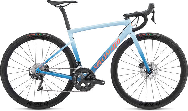 Specialized Women's Tarmac Disc Expert Color: Storm Grey/Ice Blue/Acid Lava