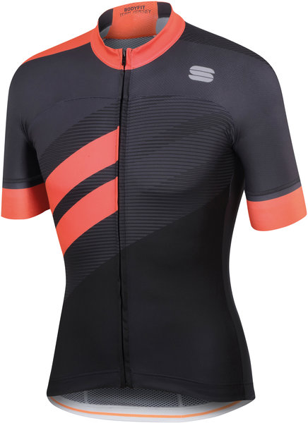 Sportful Bodyfit Team Jersey Color: Black/Coral Fluo