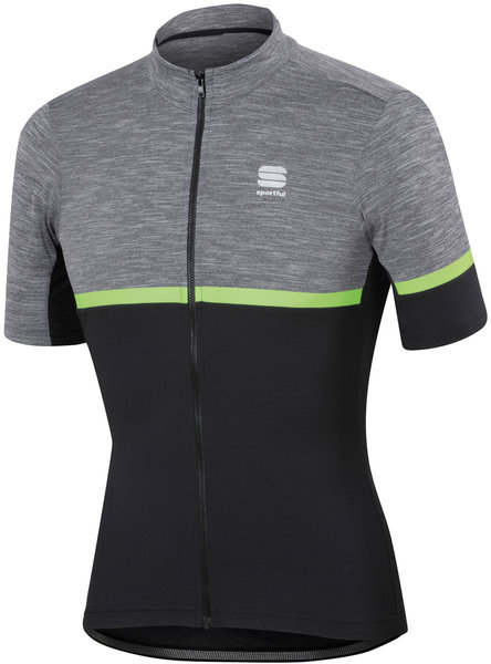 Sportful Giara Jersey Color: Anthracite/Black/Green Fluo
